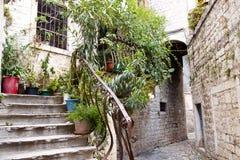Narrow alley - Trogir, Croatia. Royalty Free Stock Photo