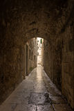 Narrow alley and tunnel at Split's old town Stock Images