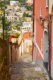 Narrow alley in the village of positano Stock Photos