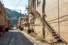 Narrow Alley in Wallace, Idaho Stock Image