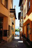 Through narrow alleys to the Lake Maggiore Royalty Free Stock Photography