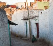 Narrow alleyway of ancient city of Jugol. Harar. Ethiopia. Royalty Free Stock Photo
