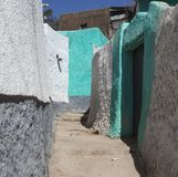 Narrow alleyway of ancient city of Jugol. Harar. Ethiopia. Stock Photo