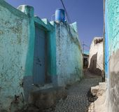 Narrow alleyway of ancient city of Jugol. Harar. Ethiopia. Royalty Free Stock Photos