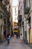 Narrow alleyway in Barcelona Royalty Free Stock Photos