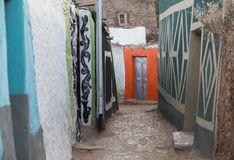 Narrow alleyway in city of Jugol in the morning. Harar. Ethiopia. Stock Image