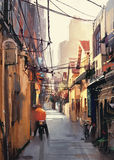 Narrow alleyway in old town Royalty Free Stock Photos