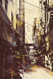 Narrow alleyway in old town Royalty Free Stock Photography