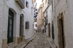 Narrow Alleyways Of Sitges Royalty Free Stock Photography