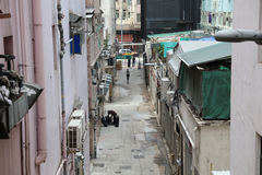 Narrow allys  at Sai Ying Pun. Hk Royalty Free Stock Photos