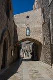 Narrow ancient cobblestone street of medieval town Erice, Sicily. Italy Stock Photo