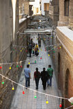 A narrow ancient street of Cairo Stock Images