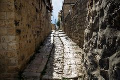 Narrow ancient streets in traditional town Deir el Qamar, Lebanon stock image