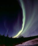 Narrow aurora arc. One of the nice and powerful aurora displays near Fairbanks, AK, November 2005 120 format slide scan (Provia 400F Stock Photo