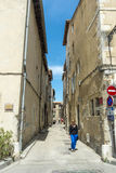 Narrow back street church building Arles Stock Photography