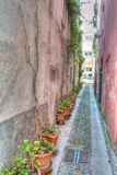 Narrow backstreet in Sassari old town in hdr Stock Photo