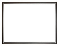 Narrow black simple flat wooden picture frame. With cut out canvas isolated on white background Royalty Free Stock Photography