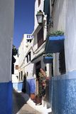 Narrow blue streets of Rabat Stock Photo