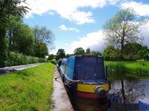 Narrow boat. Canal boat moored in Shropshire, UK Stock Photo