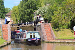 Narrow boat or barge in locks. Stock Photos