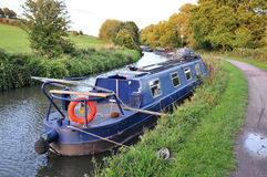 Narrow Boat on a Canal. Narrow Boat on the Kennet and Avon Canal Near Bath in Somerset England Royalty Free Stock Photography