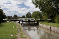 Narrow boat lock 48, Caen Hill, Wiltshire Royalty Free Stock Photo