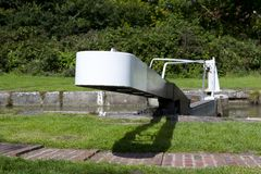 Narrow boat lock gate Royalty Free Stock Images