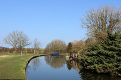 Narrow boat moored on Lancaster canal at Borwick Royalty Free Stock Photos