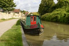 Narrow boat at quay on canal, Bradford on Avon Stock Photography