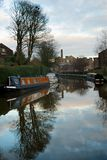 Narrow Boat reflected not he canal in Skipton, North Yorkshire Royalty Free Stock Photos