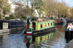 Narrow boat on Regent's Canal near Little Venice. Stock Image