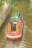 Narrow boat at Skipton. An image of a narrow boat taking tourists and holiday makers for a trip around an offshoot of the Leeds and Liverpool Canal close to Stock Image