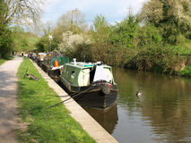 Narrow Boats on a Canal. View of Narrow Boats on the Kennet and Avon Canal Stock Photography