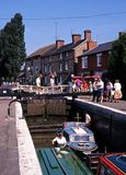 Narrow boats in lock, Stoke Bruerne. Royalty Free Stock Image
