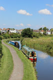 Narrow boats moored on Lancaster canal Hest Bank Stock Photos