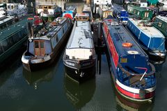 Narrow boats moored in Limehouse Basin, London, UK Royalty Free Stock Photo