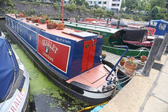 Narrow boats on Regent Canal Stock Images