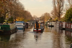 Narrow boats Grand Union Canal London Stock Images