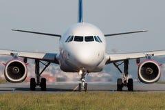Narrow body jet airplane - front view stock photo