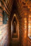 Narrow brick corridors inside the Stockholm`s City Hall Tower, Sweden. Stock Photos