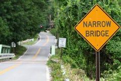 Narrow Bridge. Sign on a rural road royalty free stock photos