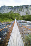 Narrow bridge, mountain stream Stock Photography
