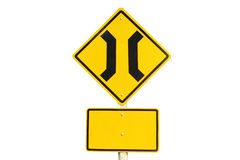 Narrow bridge traffic sign Stock Images