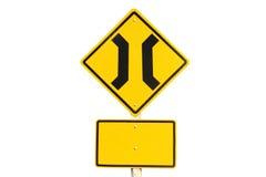 Narrow bridge traffic sign Stock Images