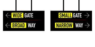 Narrow and broad way wide small gate royalty free illustration