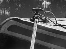 Narrow Canal Boat Detail 2. Narrow Canal Boat at a Boat Festival in Middlewich England. Black and White Royalty Free Stock Photo