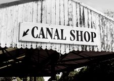Narrow Canal Boat - The Shop. Narrow Canal Boat Shop at a Boat Festival in Middlewich England Stock Photos
