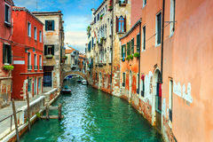 Narrow canal with boats in Venice,Italy,Europe Royalty Free Stock Photography