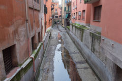 Narrow canal in Bologna downtown. Emilia Romagna , Italy. Stock Photography