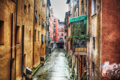 Narrow canal in Bologna downtown Royalty Free Stock Images
